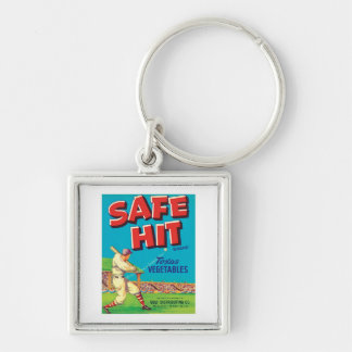 Vintage Vegetables Food Product Label Silver-Colored Square Key Ring