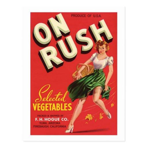 Vintage Vegetables Food Product Label Postcards