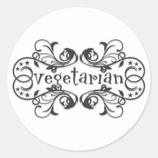 Vintage Vegetarian Round Sticker