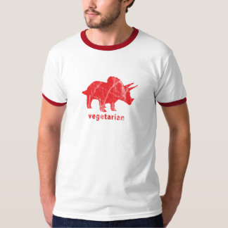 Vintage Vegetarian Triceratops Red T-Shirt