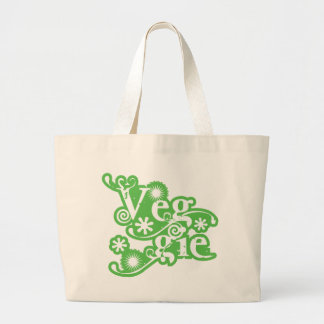 Vintage Veggie, For Vegetarians and Vegans Jumbo Tote Bag