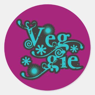 Vintage Veggie, For Vegetarians and Vegans Round Sticker