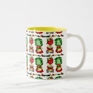 Vintage Veggie People Two-Tone Mug