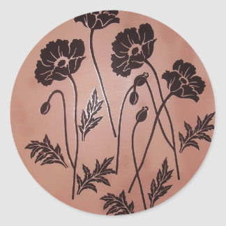 Vintage Velvet Poppies Round Sticker