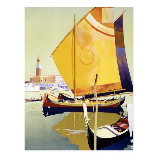 Vintage Venice Travel Poster Postcard