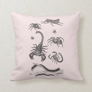 Vintage Vermin Scorpion Spider Flea Pink Cushion