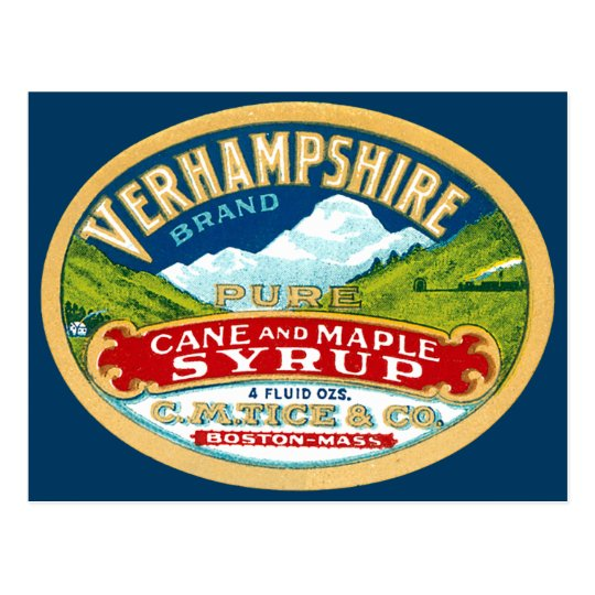 Vintage Vernhampshire Cane and Maple Syrup Label Postcard
