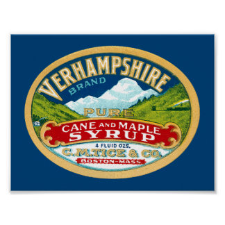 Vintage Vernhampshire Cane and Maple Syrup Label Poster
