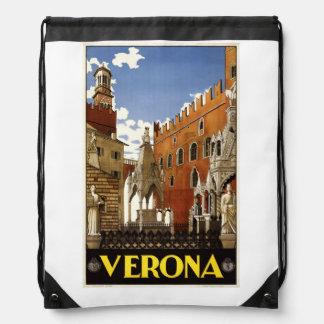 Vintage Verona Italy backbag Drawstring Bag