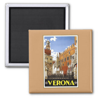 Vintage Verona Italy Square Magnet