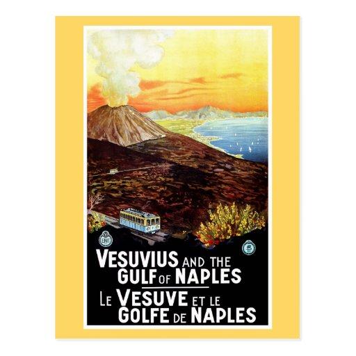 Vintage Vesuvius Gulf of Naples Italian travel Post Cards