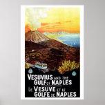 Vintage Vesuvius Gulf of Naples Italian travel Poster