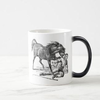 Vintage Vicious Biting Horse Template Magic Mug