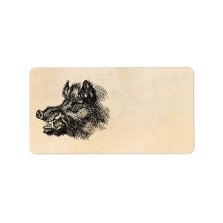 Vintage Vicious Wild Boar w Tusks Template Address Label