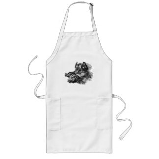 Vintage Vicious Wild Boar w Tusks Template Long Apron