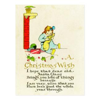 Vintage Victorian A Christmas Wish Little Girl Postcard