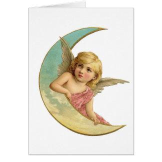 Vintage Victorian Angel Moon Girl Card