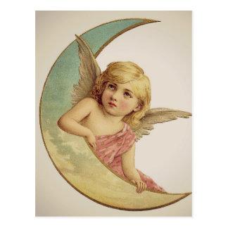 Vintage Victorian Angel Moon Girl Postcard