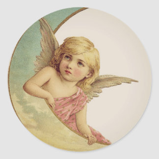 Vintage Victorian Angel Moon Girl Round Sticker