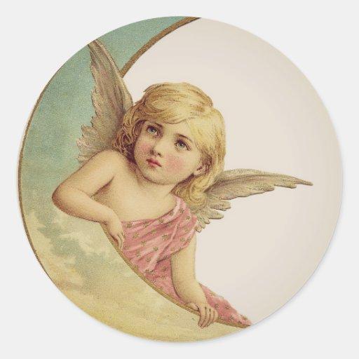 Vintage Victorian Angel Moon Girl Sticker