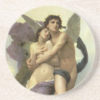 Vintage Victorian Angel, Ravishment by Bouguereau Drink Coasters