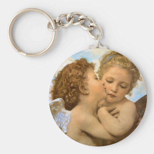 Vintage Victorian Angels, First Kiss by Bouguereau Basic Round Button Key Ring