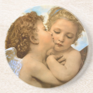 Vintage Victorian Angels, First Kiss by Bouguereau Beverage Coaster