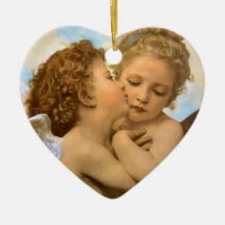 Vintage Victorian Angels, First Kiss by Bouguereau Ceramic Heart Decoration