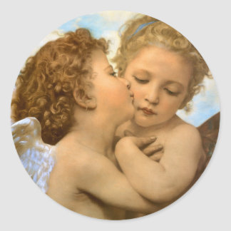 Vintage Victorian Angels, First Kiss by Bouguereau Classic Round Sticker