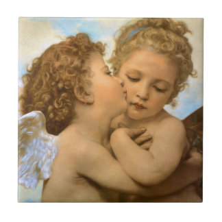 Vintage Victorian Angels, First Kiss by Bouguereau Small Square Tile