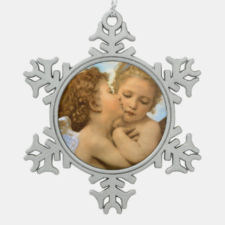 Vintage Victorian Angels, First Kiss by Bouguereau Snowflake Pewter Christmas Ornament