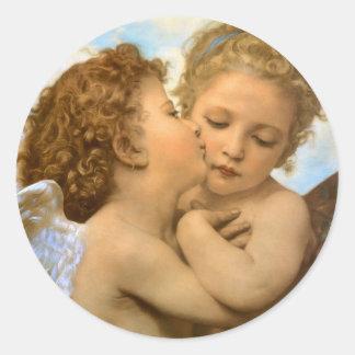 Vintage Victorian Angels, First Kiss by Bouguereau Round Sticker