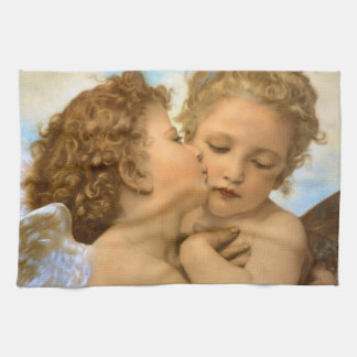 Vintage Victorian Angels, First Kiss by Bouguereau Tea Towel