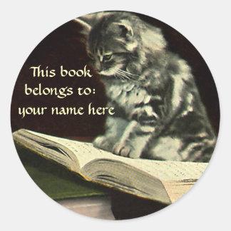 Vintage Victorian Animal Kitten Reading Bookplate Round Sticker