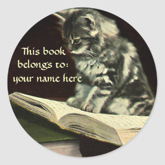 Vintage Victorian Animal Kitten Reading Bookplate Classic Round Sticker