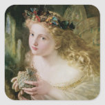 Vintage Victorian Art, Beautiful Fairy Butterflies Square Stickers