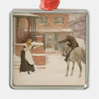 Vintage Victorian Art, Greeting Postman by Macbeth Silver-Colored Square Decoration