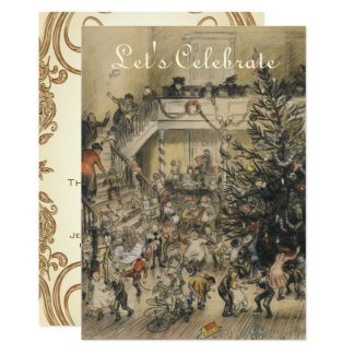 Vintage Victorian Art Holiday Christmas Party Card