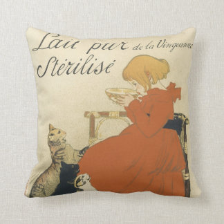 Vintage Victorian Art Nouveau, Girl with Milk Cats Cushion