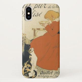 Vintage Victorian Art Nouveau, Girl with Milk Cats iPhone X Case