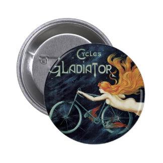 Vintage Victorian Art Nouveau, Gladiator Cycles 6 Cm Round Badge