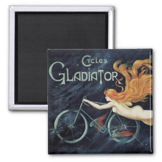Vintage Victorian Art Nouveau, Gladiator Cycles Square Magnet