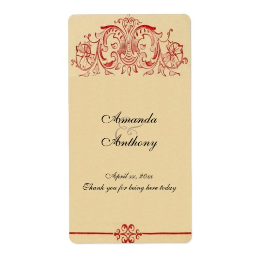 Vintage Victorian,  Baroque, Wedding Wine, Custom