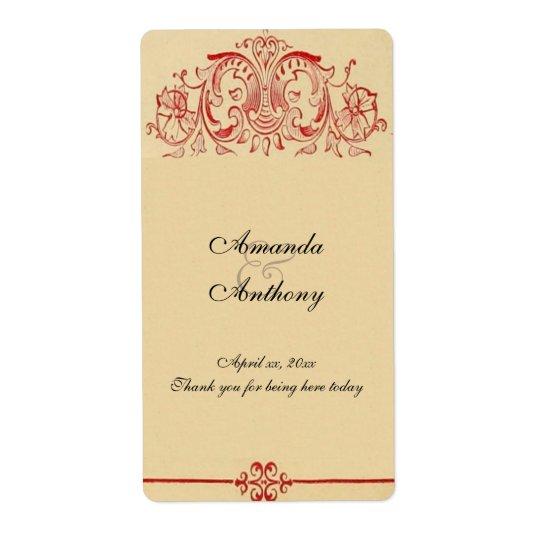 Vintage Victorian,  Baroque, Wedding Wine, Custom Shipping Label