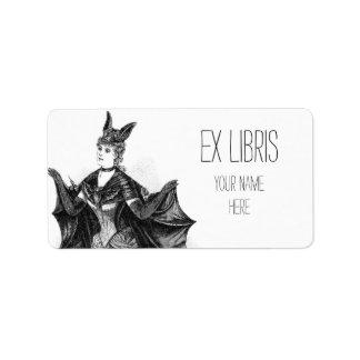 Vintage victorian bat woman bookplate label