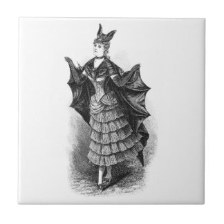 Vintage victorian bat women tile