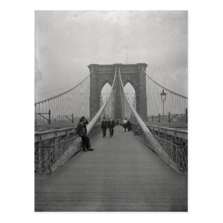 Vintage Victorian Black and White Brooklyn Bridge Postcard