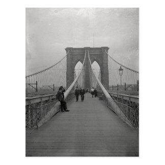 Vintage Victorian Black and White Brooklyn Bridge Postcard