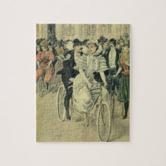 Vintage Victorian Bride and Groom Newyweds Bicycle Jigsaw Puzzle