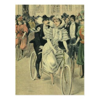 Vintage Victorian Bride and Groom Newyweds Bicycle Postcard